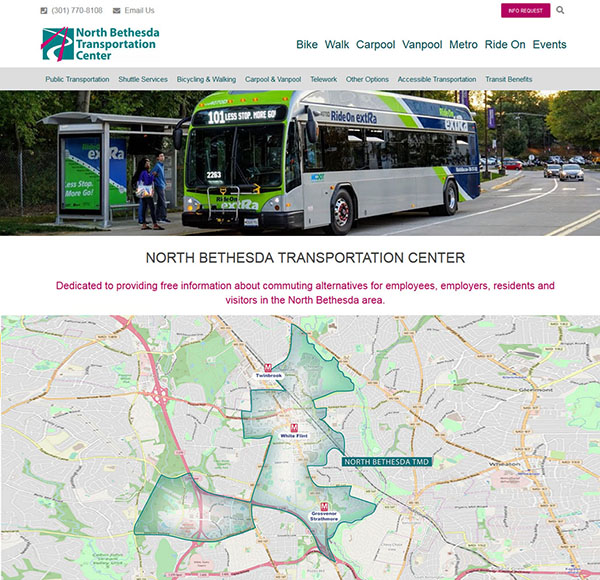 Government Agency Website for North Bethesda Transportation Center built by Kemp Design Services Features clean organization of a large number of information
