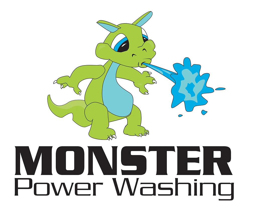 Monster Power Washing Logo Developed by Kemp Design Services, mascot logo, monster logo,