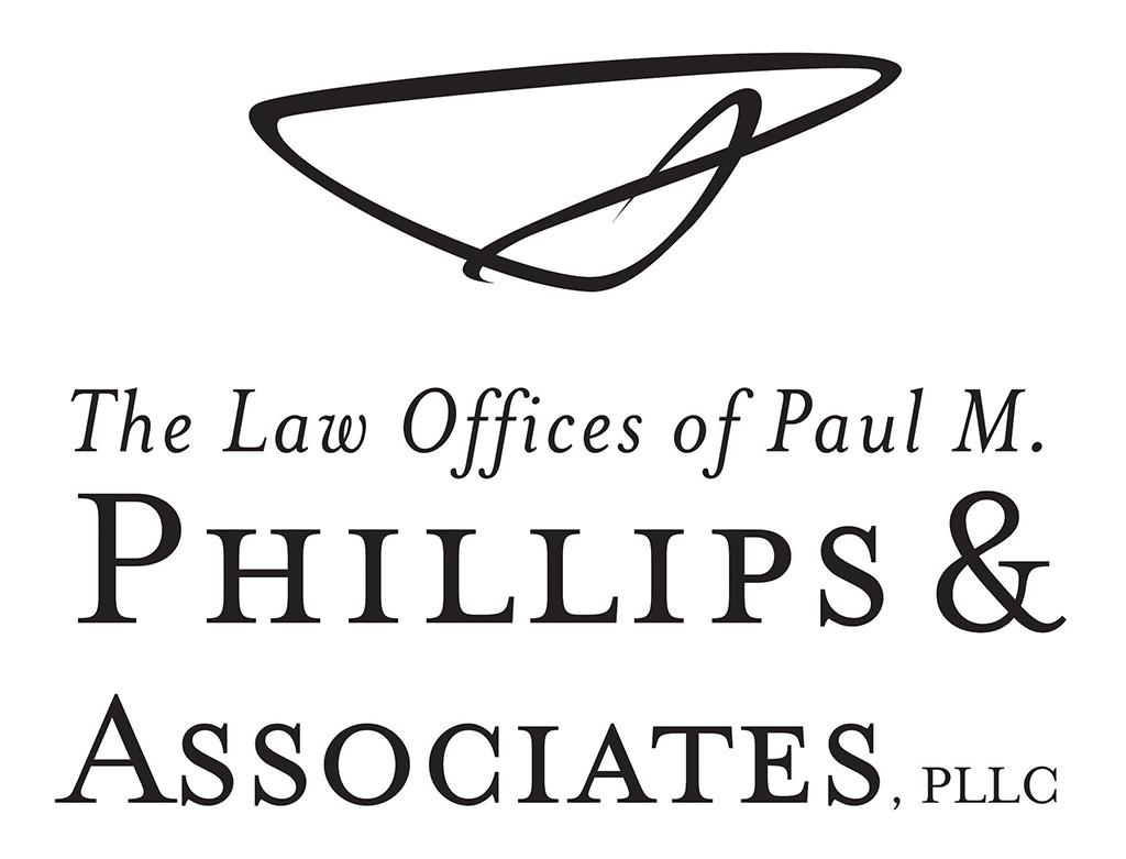 Law offices of Paul M Phillips and Associates PLLC logo developed by Kemp Design Servcies featuring signature of attorney