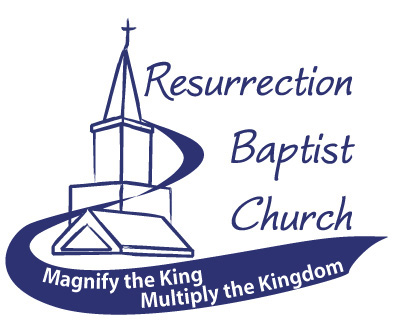 Resurrection Baptist Church logo with tagline Magnify the King Multiply the Kingdom. Baptist Church Logo in Montpelier Vermont