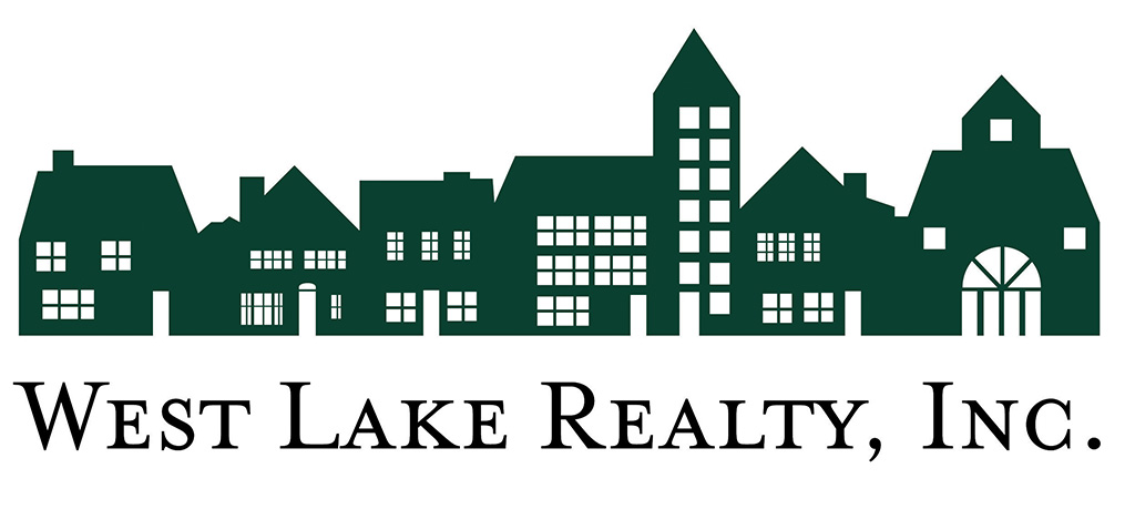 West Lake Realty Inc Housing Development logo designed by Kemp Design Services features street scene