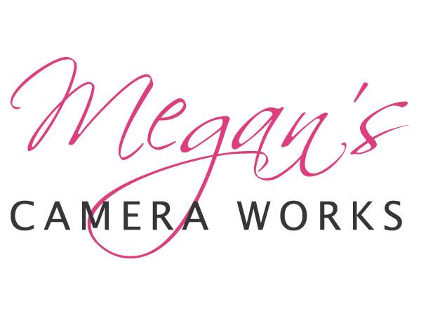Megan's Camera Works Photographer Logo, Logo Design, Text only logo, Script font logo