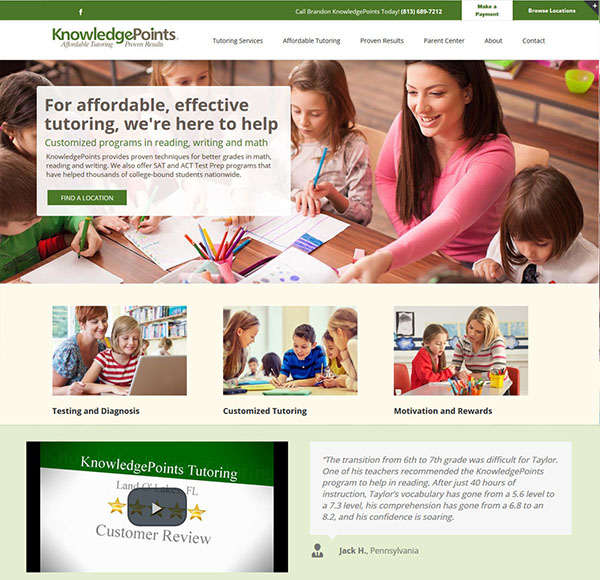 Tutoring Business website design for Knowledgepoints inFlorida. Features online bill pay button, multiple locations, franchise website