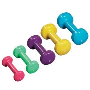Physical Therapy Dumbbell Weights - 5 Piece Set - Vinyl