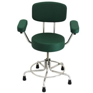 Non-Magnetic MRI Stool with Rubber Tips, Back and Arms - Green