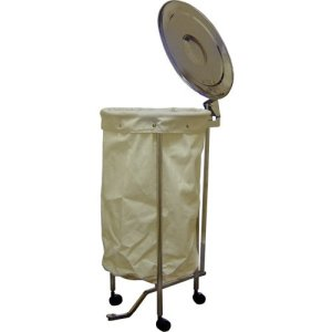 MRI Non-Magnetic Stainless Steel Hamper with Foot Operated Lid