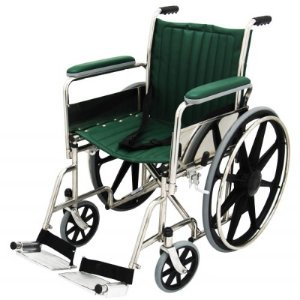 "MRI Wheel Chair 18"" with Removable Arms and Fixed Footrests - Green"