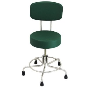 "Non-Magnetic MRI Stool, 15"" to 21"" with Rubber Tips & Back - Green"
