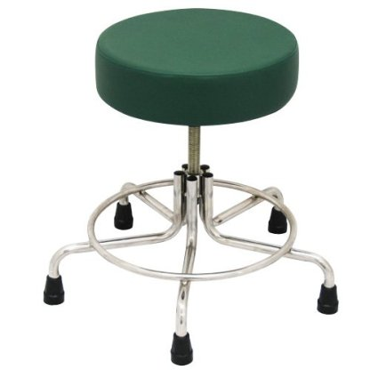 "Non-Magnetic MRI Adjustable Stool, 21"" to 27"" with Rubber Tips - Green"