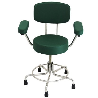 Non-Magnetic MRI Adjustable Stool w/ Rubber Tips, Back & Arms - Green