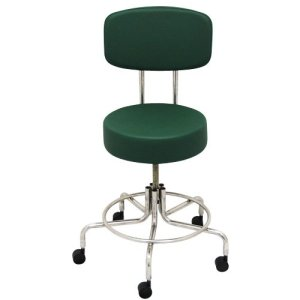 """Non-Magnetic MRI Adjustable Stool, 16"""" to 22"""" with Back - Green"""