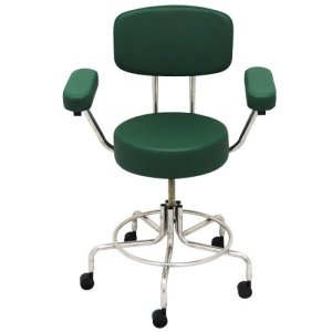 """Non-Magnetic MRI Adjustable Stool, 22"""" to 28"""" with Back & Arms - Green"""
