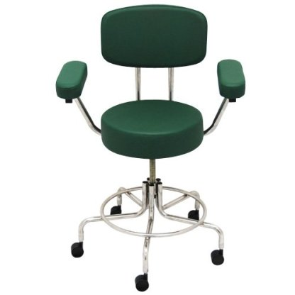 "Non-Magnetic MRI Adjustable Stool, 22"" to 28"" with Back & Arms - Green"