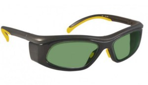 Model 206 Glassworking Safety Glasses - Light Green Filter - Yellow and Black with Smoke Gray Side Shields