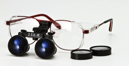 Radiation Protection Loupe, Ni-Alloy Frame - Red