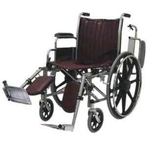 """18"""" Wide Non-Magnetic MRI Wheelchair w/ Flip Back Arms and Detachable Elevating Legrests - Burgundy"""