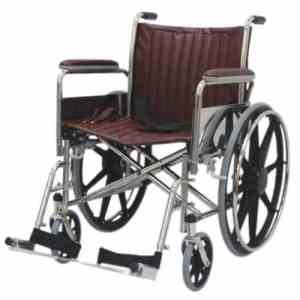 """20"""" Wide Non-Magnetic MRI Wheelchair w/ Detachable Footrests - Burgundy"""