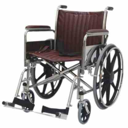 "20"" Wide Non-Magnetic MRI Wheelchair w/ Detachable Footrests - Burgundy"