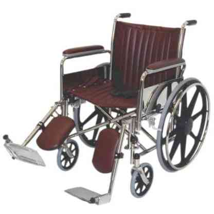 "20"" Wide Non-Magnetic MRI Wheelchair w/ Detachable Elevating Legrests - Burgundy"