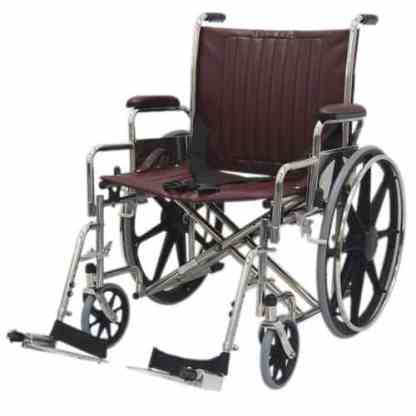 "22"" Wide Non-Magnetic MRI Wheelchair w/ Detachable Footrests - Burgundy"