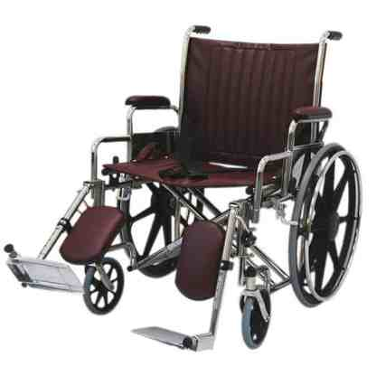"22"" Wide Non-Magnetic MRI Wheelchair w/ Detachable Elevating Legrests - Burgundy"