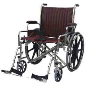 "24"" Wide Non-Magnetic MRI Wheelchair w/ Detachable Footrests - Burgundy"