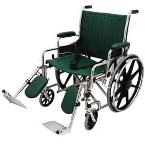 "24"" Wide Non-Magnetic MRI Wheelchair w/ Detachable Footrests - Green"