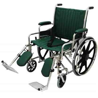 """24"""" Wide Non-Magnetic MRI Wheelchair w/ Detachable Footrests - Green"""