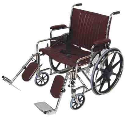 "24"" Wide Non-Magnetic MRI Wheelchair w/ Detachable Elevating Legrests"