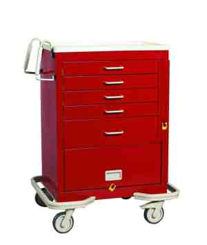 Emergency Crash Cart - Standard 5 Drawer with Panel