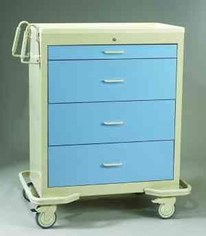 4 Drawer Wide Key Lock Cart - Aluminum