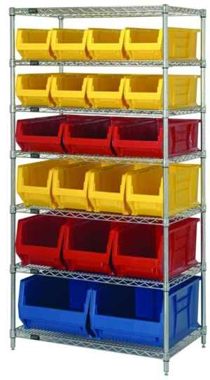 Wire Shelving Rack with Seven Shelves and Twenty Bins