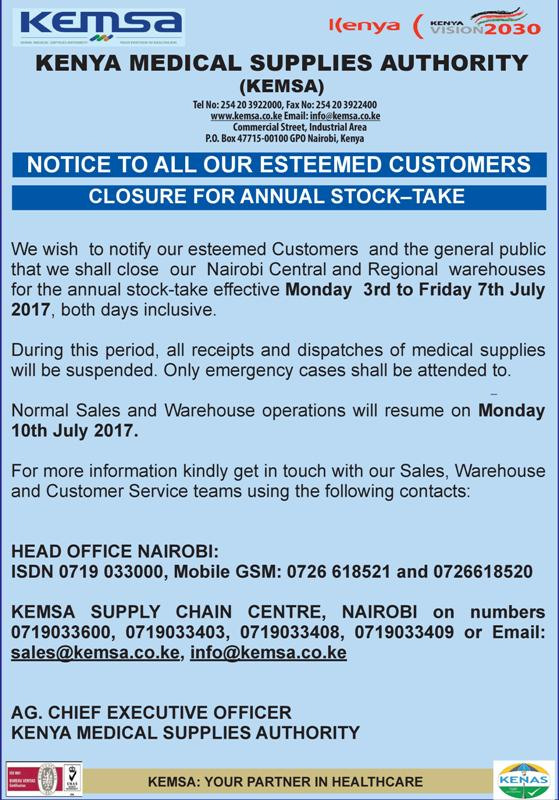 Closure for Annual Stock Take