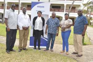 KEMSA Board of Directors Tom Wambua (left), Simon Ole Kirgotty, Dr Nelly Kimani, Chief Executive Officer Dr Jonah Manjari ,Peninah Mukabane and KEMSA Legal Director Fred Wanyonyi pose a photo during the KEMSA Board Induction