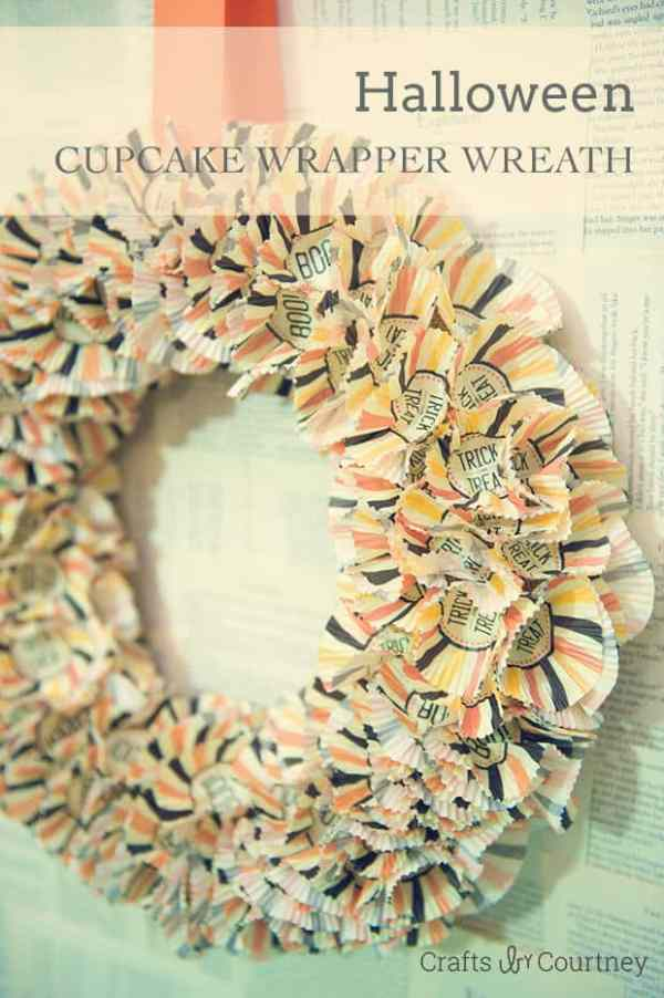 Easy Halloween Cupcake Wrapper Wreath from Crafts By Courtney in the Summer Spotlight