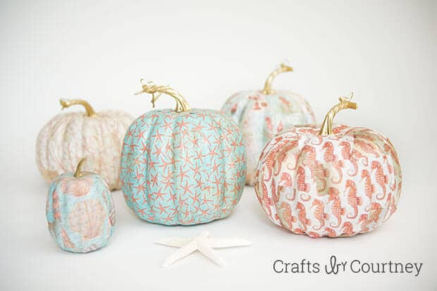 Mod Podge Fall Coastal Theme Pumpkins from Crafts By Courtney in the Summer Spotlight