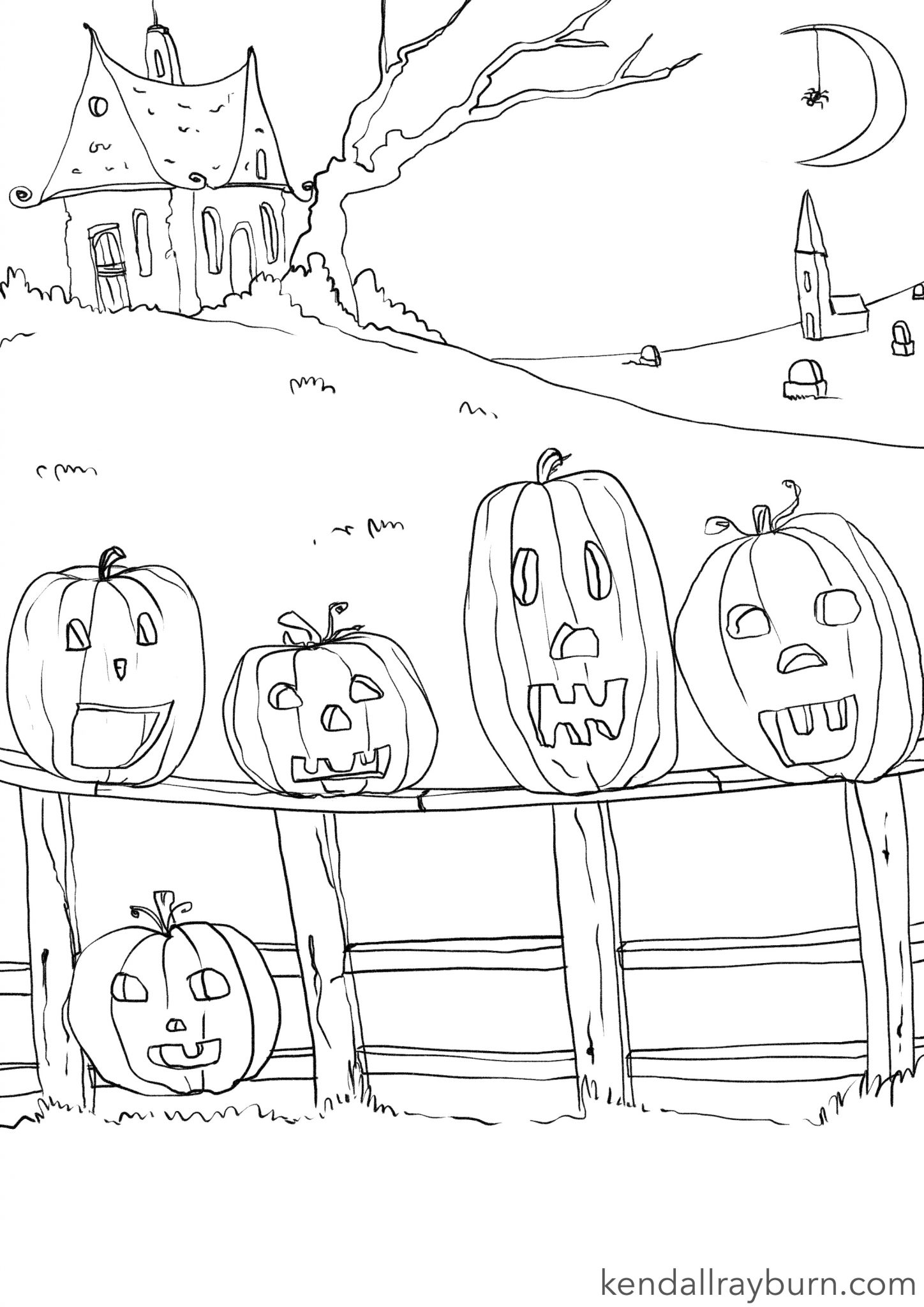 5 Little Pumpkins Coloring Page