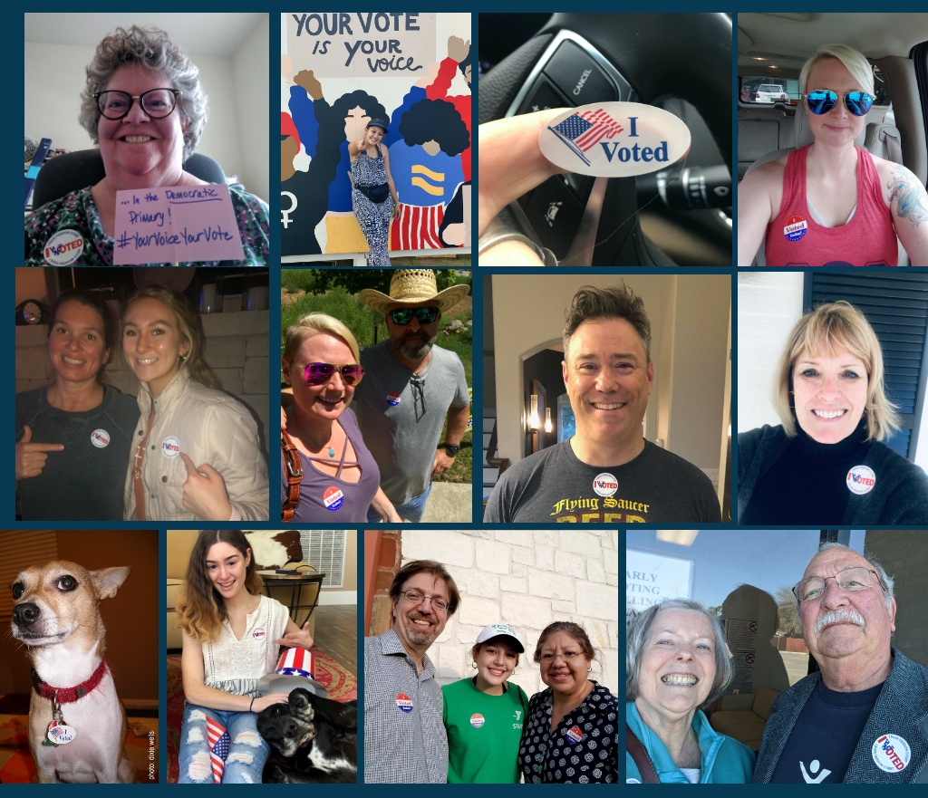 "Collage of Kendall County Democrats with ""I Voted"" stickers"