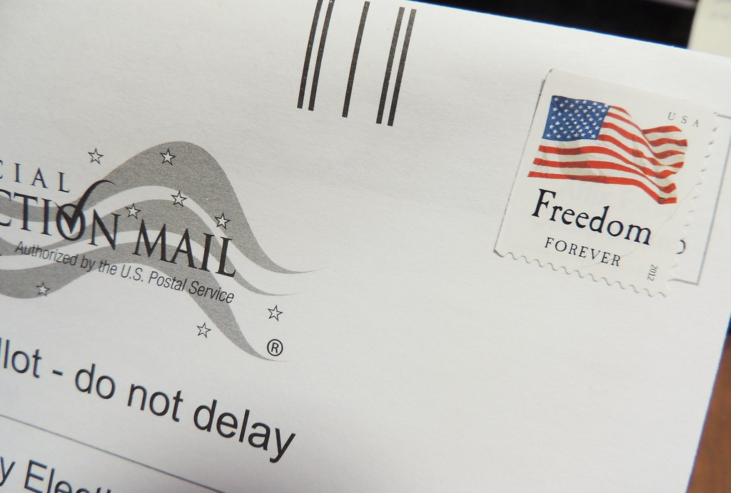 "Official Election Mail envelope with ""Freedom"" postage stamp"
