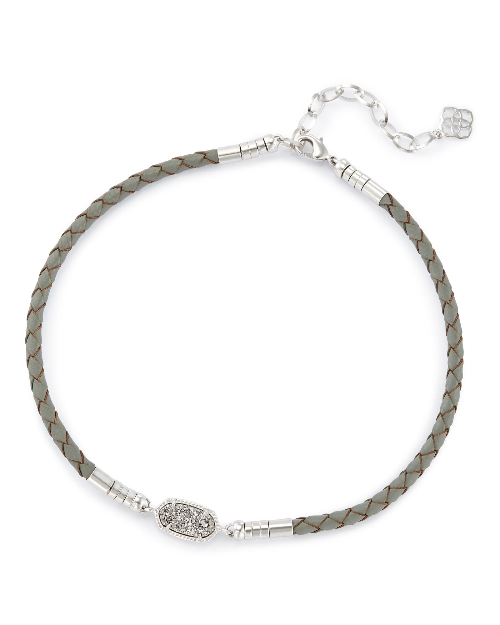 Cooper Gray Braided Leather Necklace In Silver