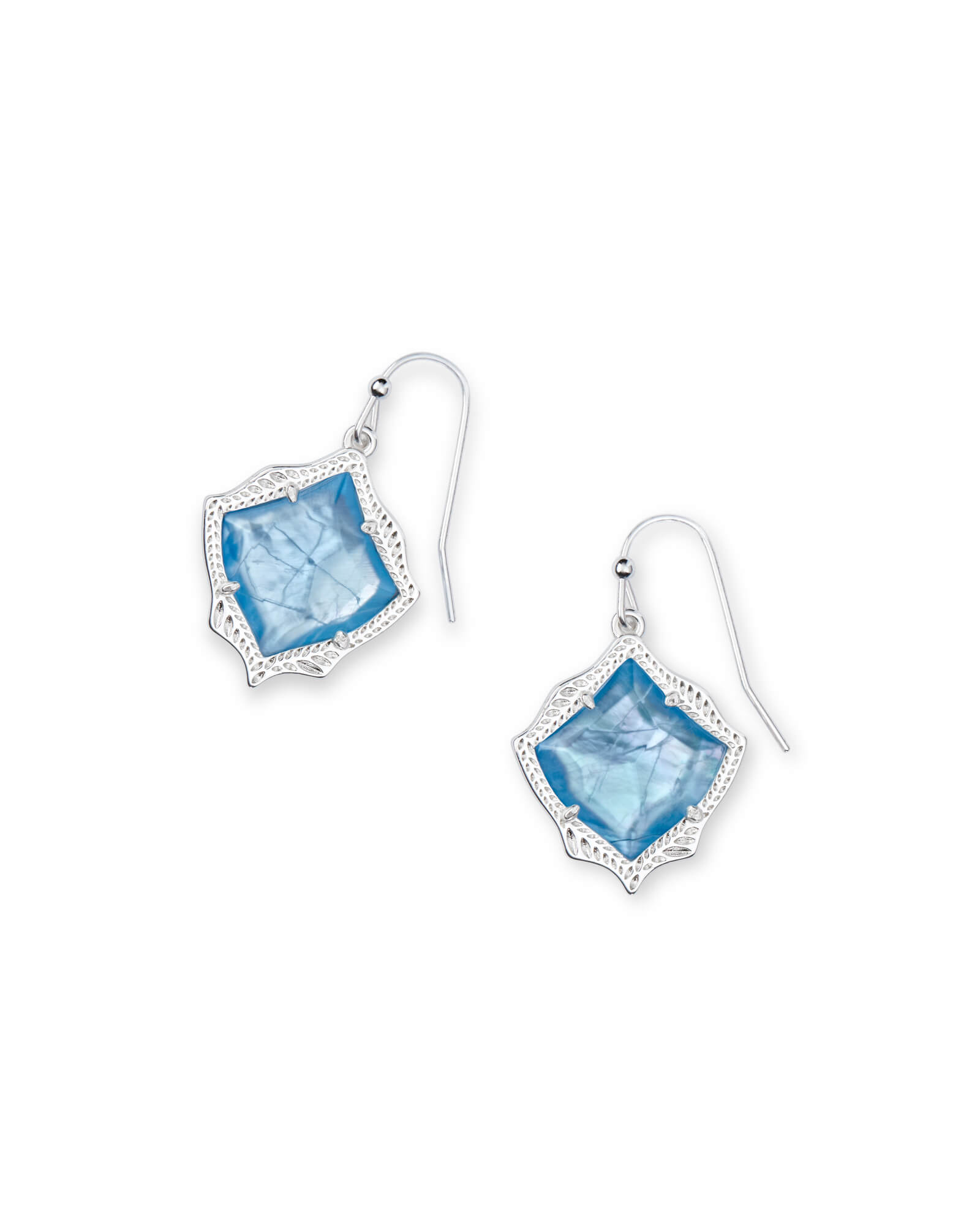 Kyrie Bright Silver Drop Earrings In Sky Blue Illusion