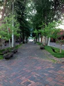 Pleasant pedestrian path in downtown Aspen