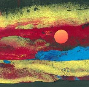sunrise monoprint collage 2015
