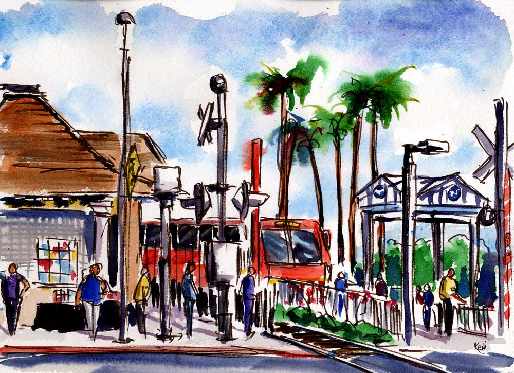 Red Line Train Passing Through Watts–Watercolor