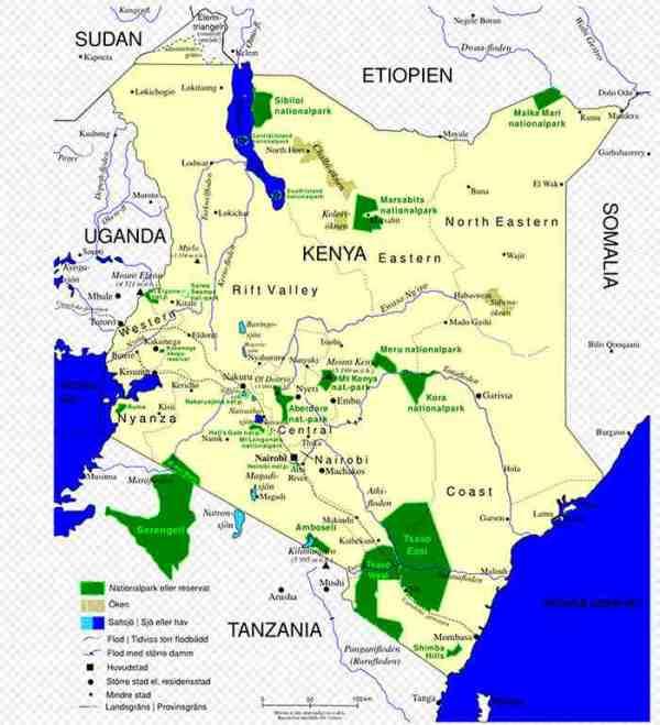 Karte von Kenia und seine angrenzenden Länder - Kenia geschichte und geographie ( Quelle Wikipedia )