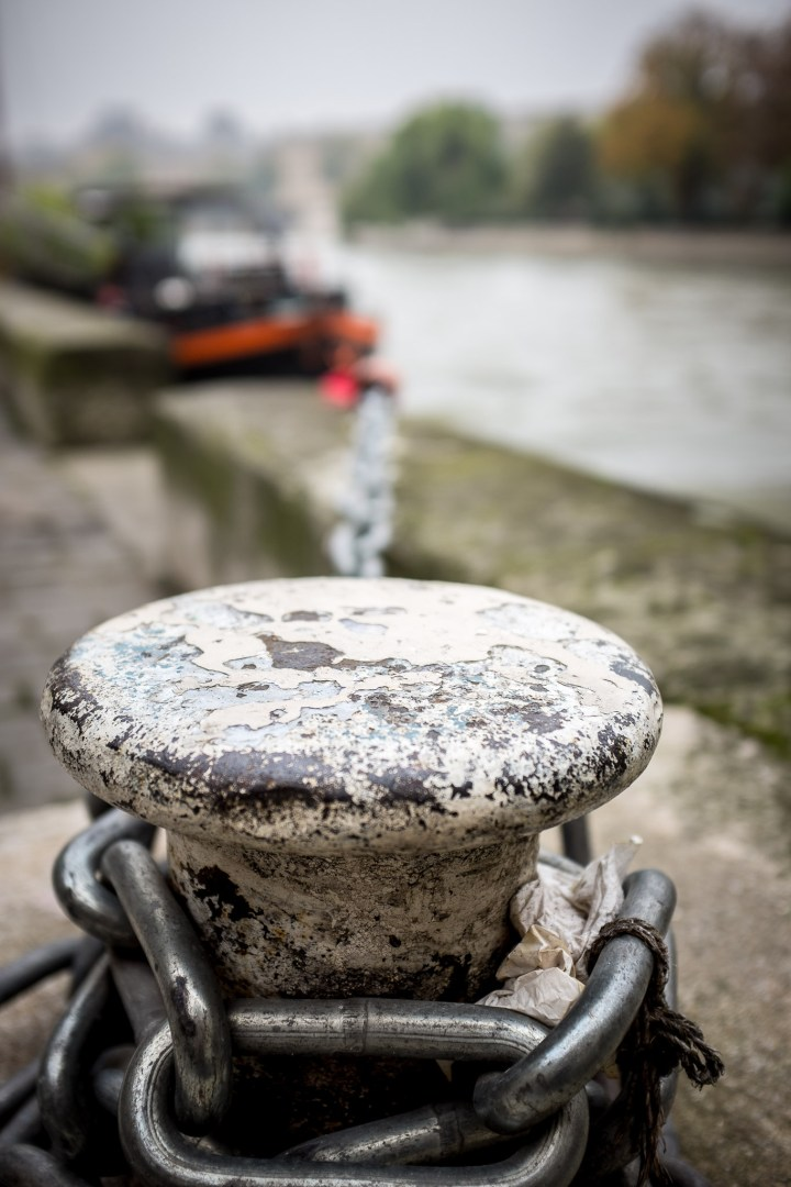 Boat mooring on the River Seine, Paris