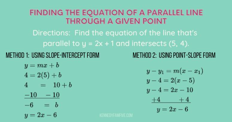 math problem showing 2 methods for solving