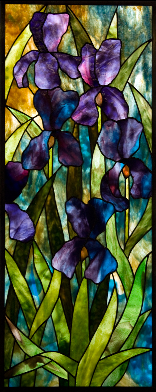 Moody Iris Stained Glass Panel