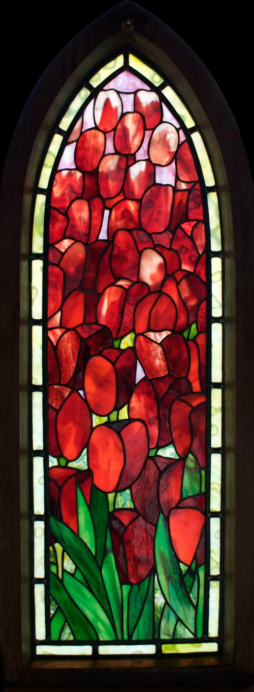 Deep-red Tulips Framed Panel