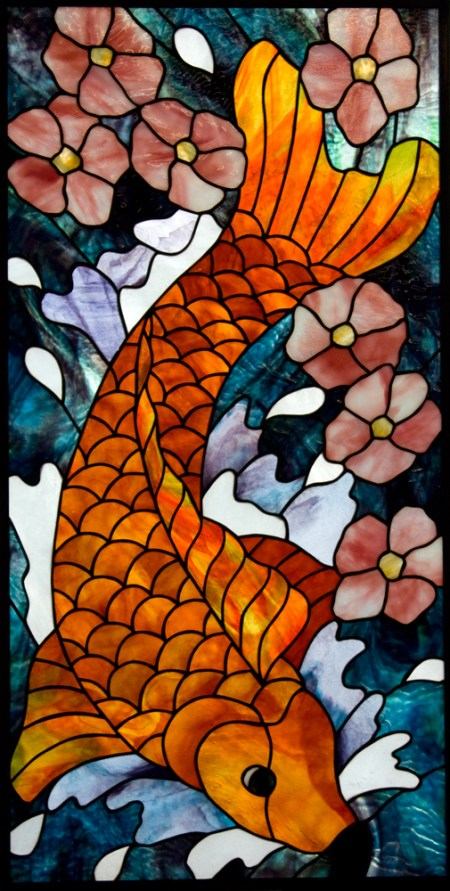 Koi Fish With Cherry Blossoms stained glass panel, designed by David Kennedy, Youghiogheny and Bullseye Art Glass